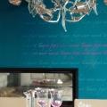 Farbdesign - Esszimmer - Detail - Schrift - Farbe - Gestaltung - Petrol - Farbgestaltung