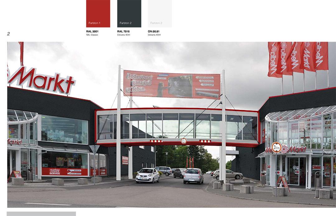 Entwurf Media-Markt-Fassade - Brücke