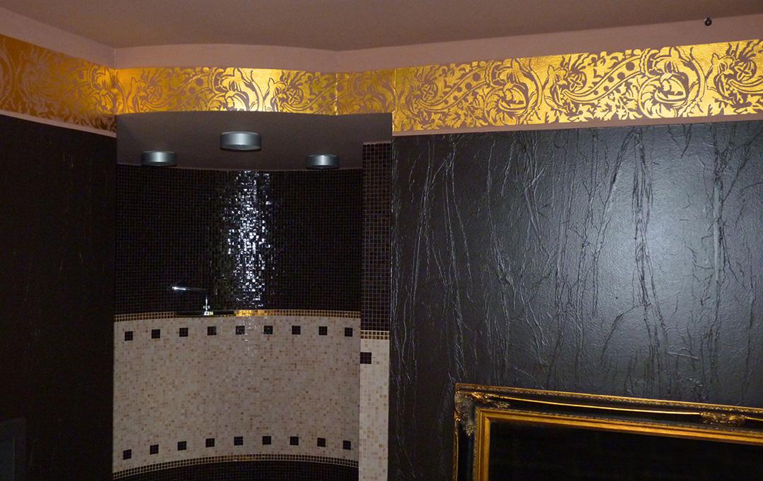 Farbdesign - Wandgestaltung mit Goldornament
